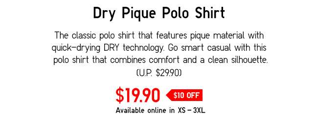Dry Pique Short Sleeve Polo Shirt | Classic polo shirt that features pique material with quick-drying DRY technology.
