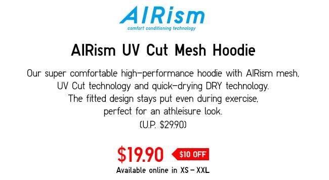 AIRism UV Cut Mesh Long Sleeve Full-Zip Hoodie | Perfect for an athleisure look.