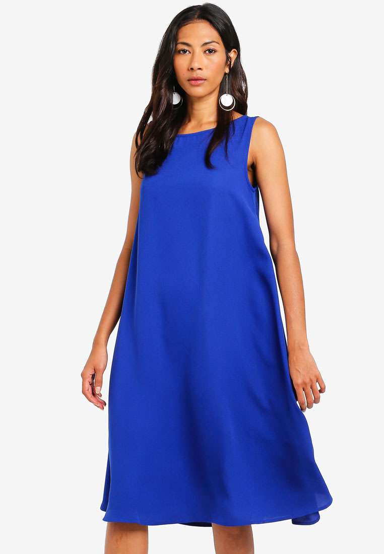 Basic Cut Out Back Oversized Shift Dress