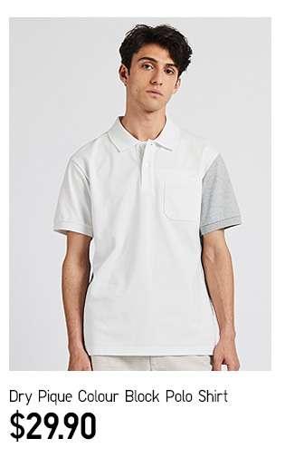 DRY Pique Colour Block Polo Shirt at $29.90