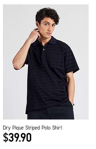 DRY Pique Striped Polo Shirt at $39.90