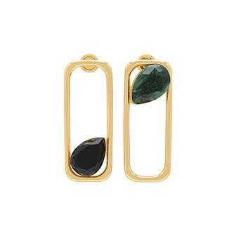 GREEN AGATE RECTANGLE DROP EARRINGS