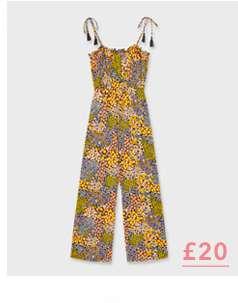 Multi Colour Busy Floral Print Tassel Jumpsuit