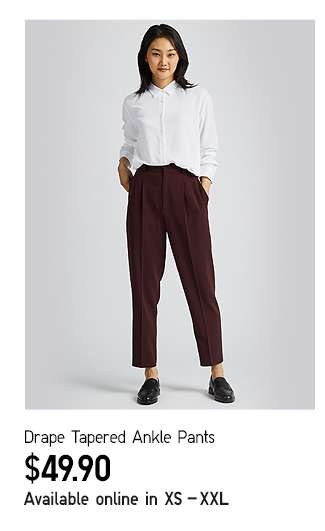 Drape Tapered Ankle Pants at $29.90