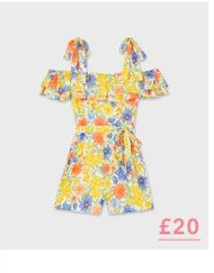 Multi Colour Floral Print Tie Shoulder Playsuit