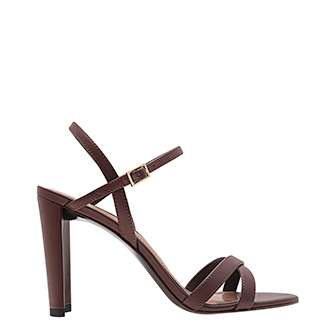 CURVED BLOCK HEEL STRAPPY SANDALS