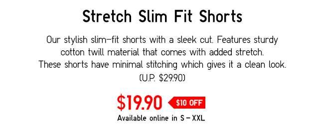 Stretch Slim Fit Shorts | Our stylish slim-fit shorts with a sleek cut.