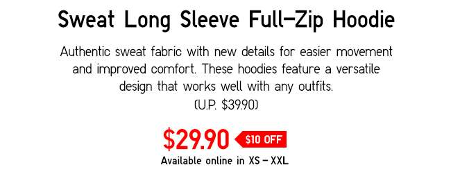 Sweat Long Sleeve Full-Zip Hoodie | Authenthic sweat fabric with new details for easier movement and improved comfort.