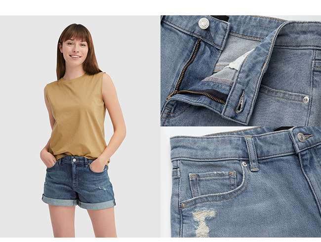 Women's Mid Rise Roll-Up Denim Shorts at $19.90