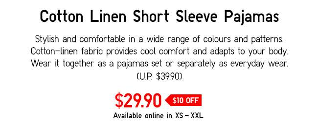 Cotton Linen Pajamas | Stylish and comfortable in a wide range of colours and patterns.
