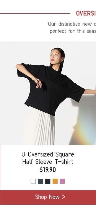 Oversized Fit | Women's Oversized Square Half Sleeve T-shirt at $19.90