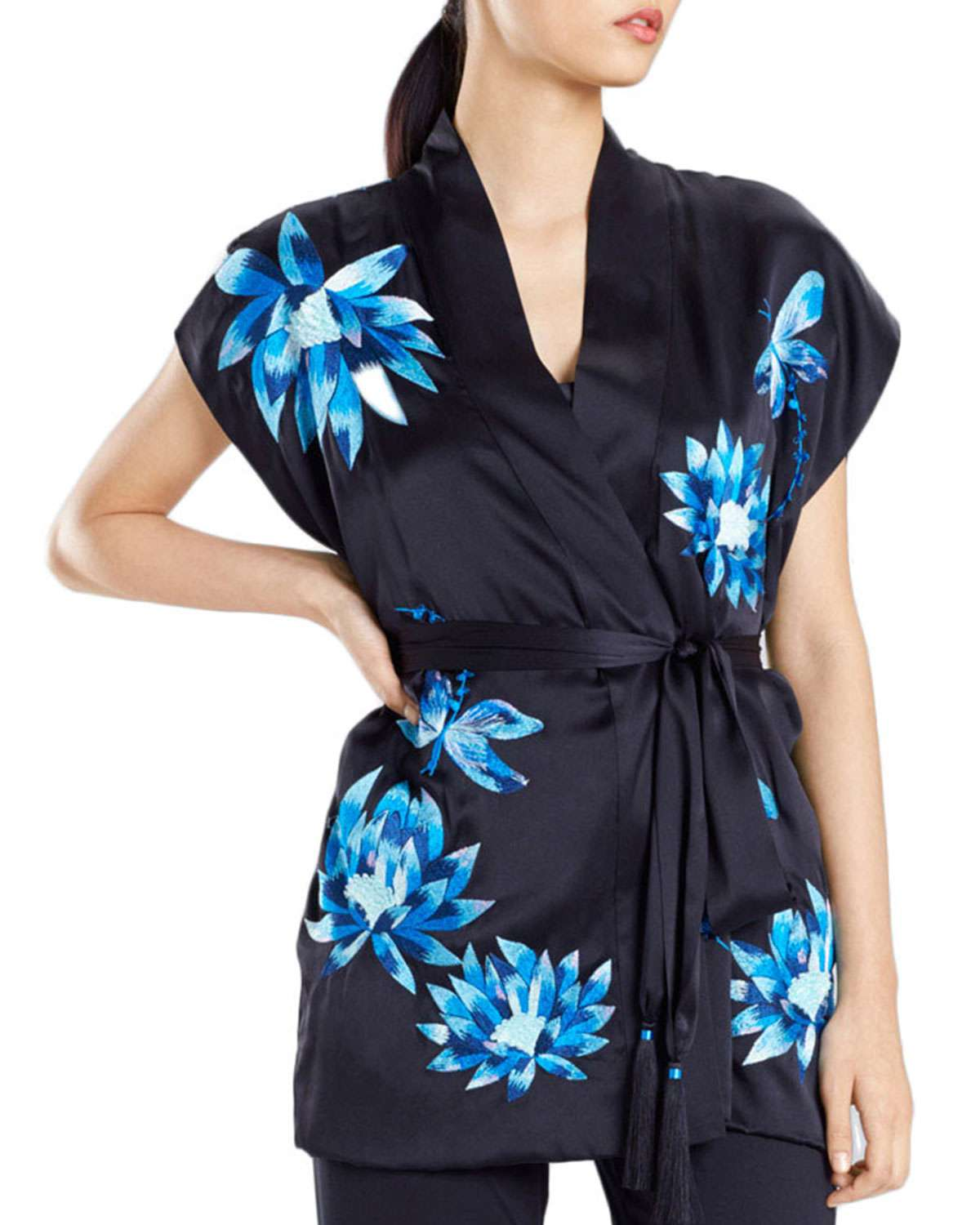 Lotus Floral-Embroidered Silk Robe