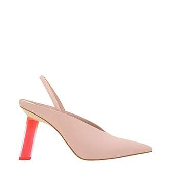 V-CUT SCULPTURAL HEEL SLINGBACKS