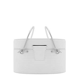 METAL TOP HANDLE CROC-EFFECT ROUND BAG