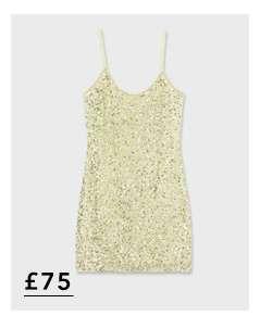 Yellow Beaded Mini Slip Dress