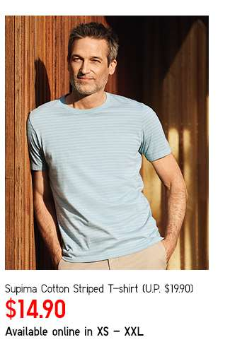 Limited Offer! Men's Supima Cotton Striped Short Sleeve T-shirt at $14.90