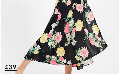 Black Mia Mixed Print Wrap Midi Dress