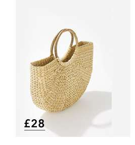 Yellow Half Moon Straw Tote Bag