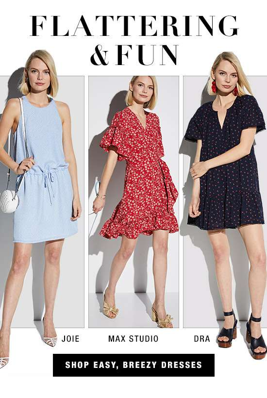Dresses from Joie, Max Studio, and dRA