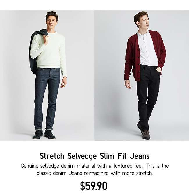 Stretch Selvedge Slim Fit Jeans at $59.90