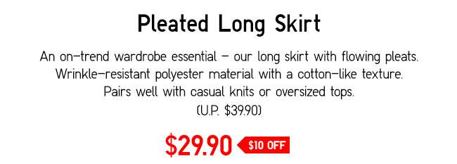 Pleated Long Skirt | Long skirt with flowing pleats.