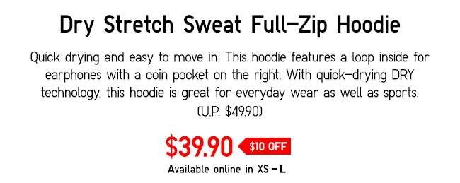 Dry Stretch Sweat Full-Zip Hoodie | Quick drying and easy to move in.