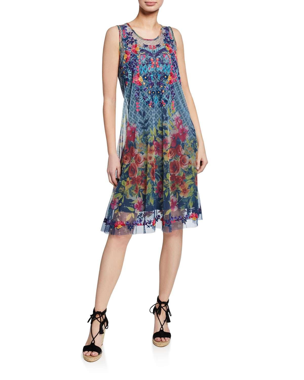 Rhandi Mixed-Print Sleeveless Mesh Dress w/ Embroidery