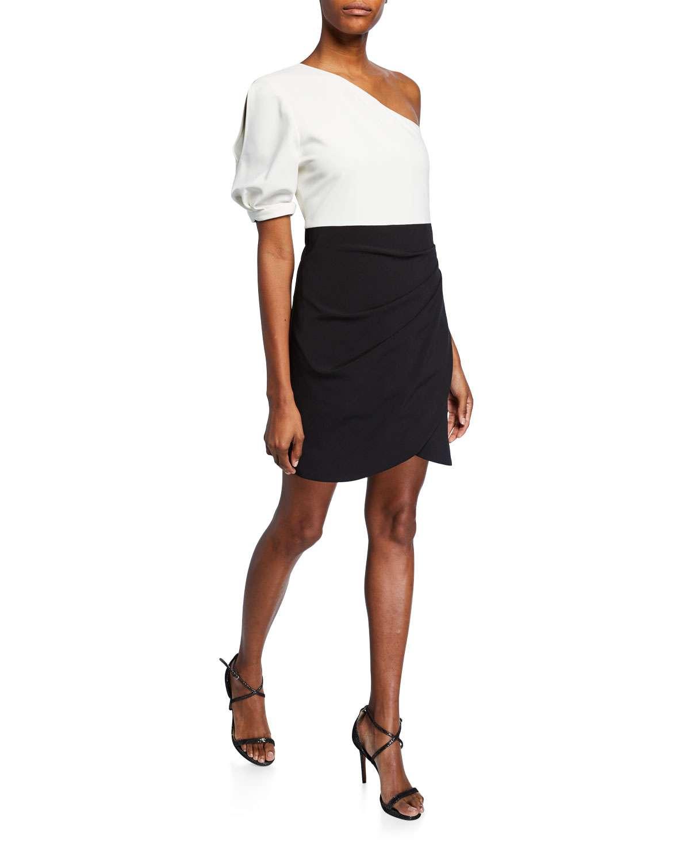 Yanna Colorblock One-Shoulder Side-Ruched Mini Dress
