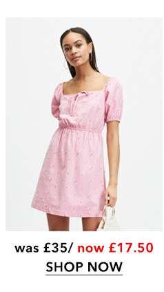 Pink Floral Embroidered Milkmaid Skater Dress