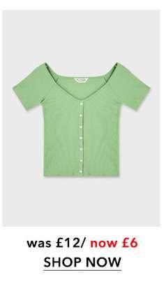Green Ballet Neck Button Through Crop Top
