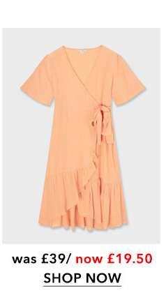Melon Frill Wrap Midi Dress