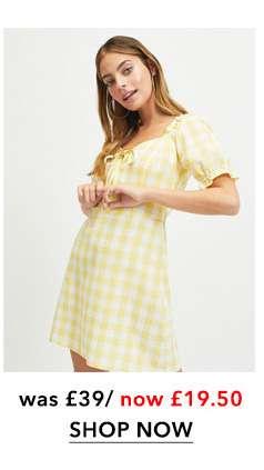 PETITE Yellow Gingham Dress