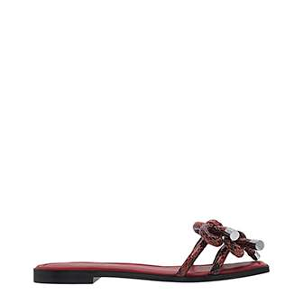 SNAKE PRINT DOUBLE BOW SLIDE SANDALS