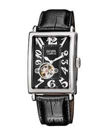 Gevril Avenue of Americas Intravedre Automatic Black Dial Watch with Leather
