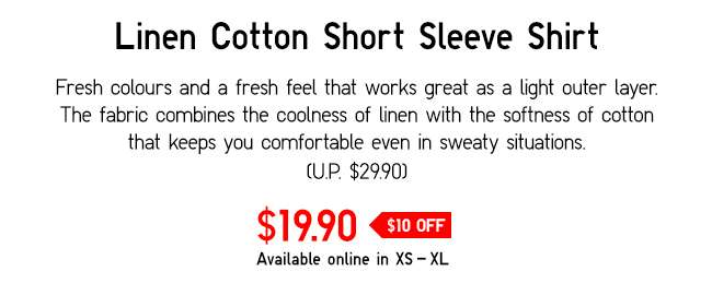 Linen Cotton Short Sleeve Shirt   Fresh colours and a fresh feel that works great as a light outer layer.