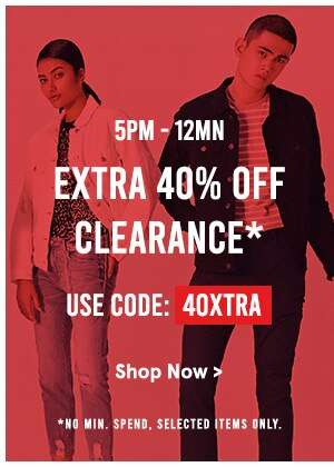 5PM-12MN: Extra 40% Off Clearance. Use code: 40XTRA, no min spend, selected items only