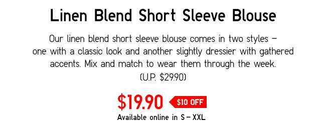 Linen Blend Short Sleeve Blouse | Comes in two styles: One with a classic look and one with gathered accents.