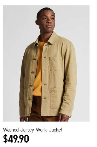 Washed Jersey Work Jacket at $49.90