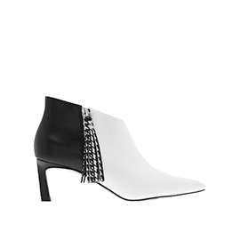 HOUNDSTOOTH PRINTED TASSEL HEELED ANKLE BOOTS