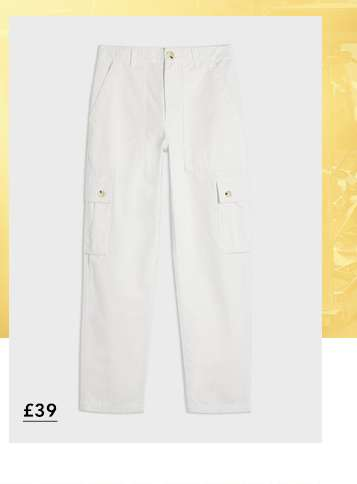 White New Cargo Pocket Trousers