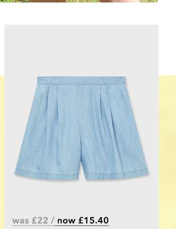 Blue High Waisted Pleat Shorts