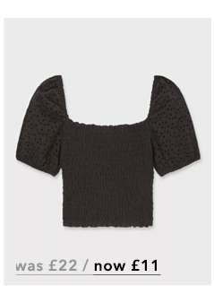 Black Shirred Broderie Top