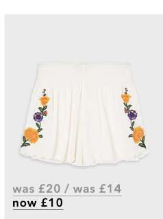 Ivory Embroidered Beach Shorts