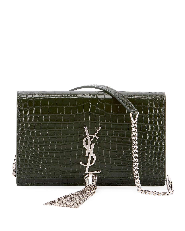 Kate Monogram YSL Tassel Croco Wallet on Chain Bag - Miroir Hardware