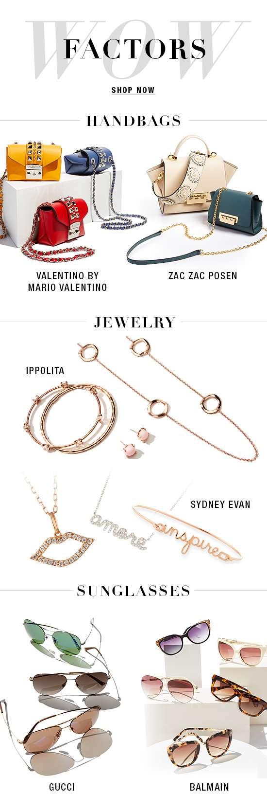 Handbags, jewelry, and sunglasses from designer brands