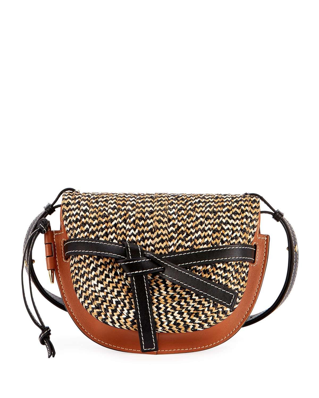 Gate Small Colorblock Raffia Shoulder Bag