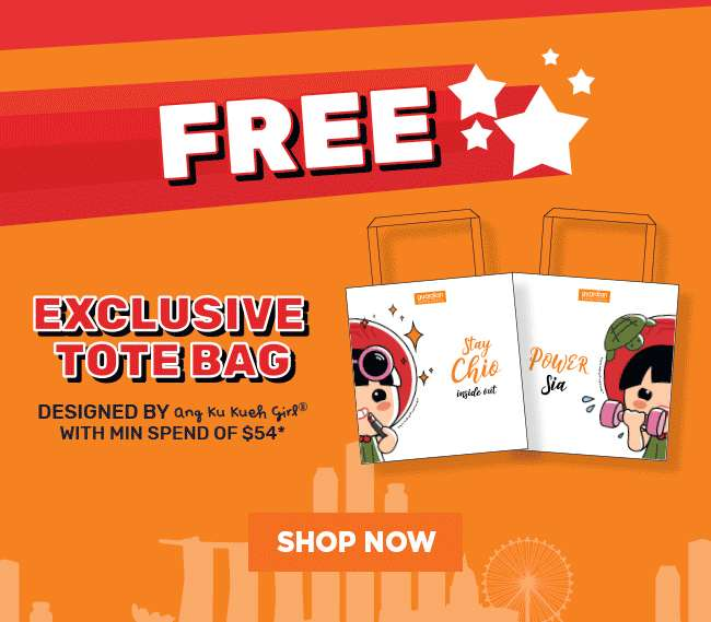 FREE Exclusive Tote Bag designed by Ang Ku Kueh Girl with min. spend of $54