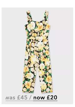Multi Colour Floral Print Pinafore Jumpsuit with Linen