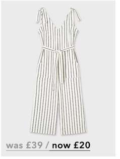 White Linen Striped Tie Jumpsuit