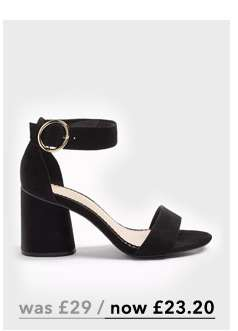 SOPHIE Black Block Heel Barely There Sandals
